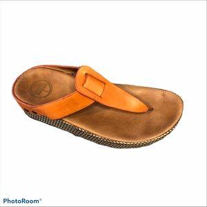 Fitflop orange Ibiza leather studded thong sandal